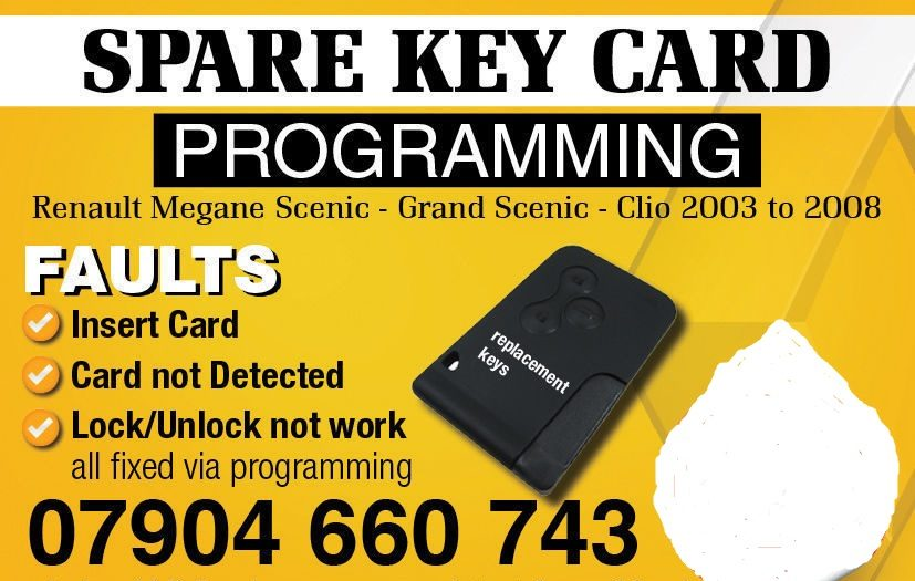 renault key cards all latest 2002 to 2015 fully programmed by our renault engineers ring or text 07904 660 743 for instant booking